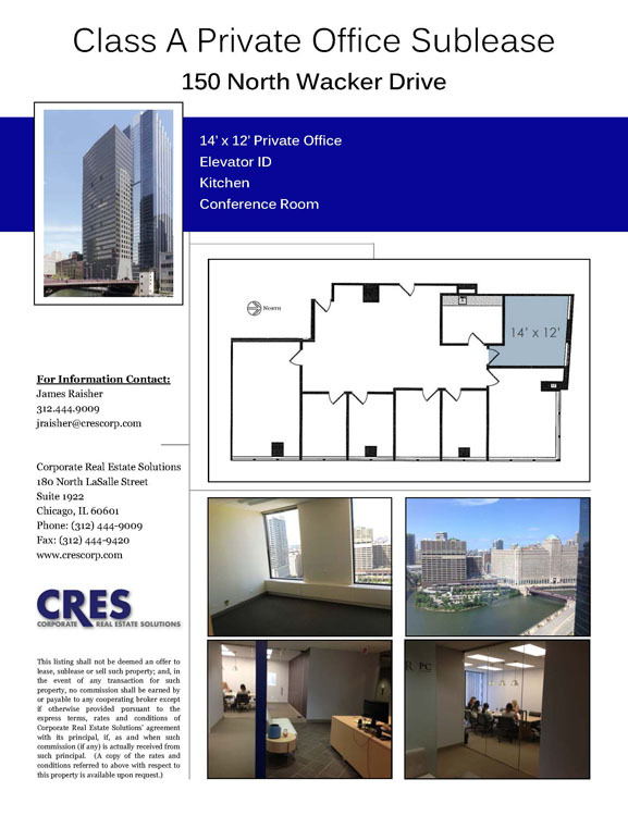 Class A Private Office Sublease - 150 North Wacker Drive, Chicago ...