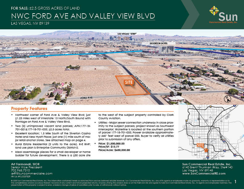 NWC Valley View Boulevard & Ford Avenue, Las Vegas, NV, 89139