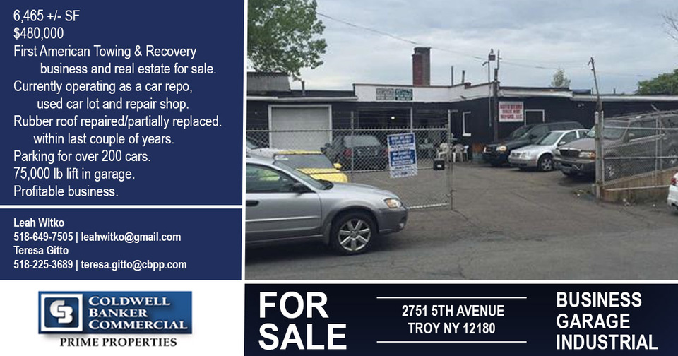 Upstate NY Profitable Car Repo, Used Car Lot and Registered Repair Shop - 2751 5th Ave, Troy, NY, 12180 TheBrokerList.com